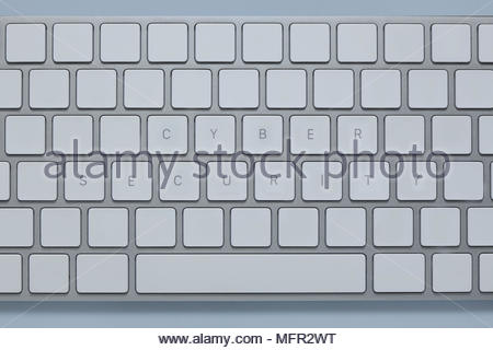 words cyber security on the computer keyboard with others keys deleted - Stock Photo