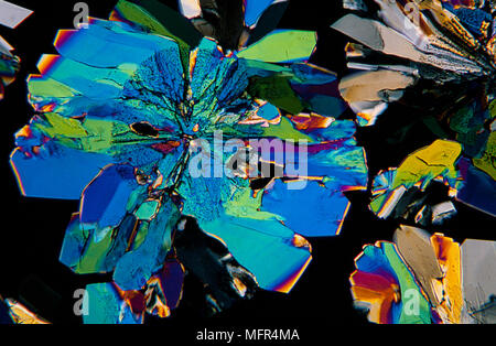 Citric acid cristals photomicrography with polarized light. Portugal - Stock Photo