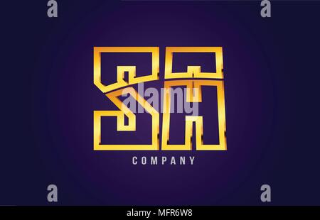 gold golden alphabet letter sa s a logo combination design suitable for a company or business on a puple blue background - Stock Photo