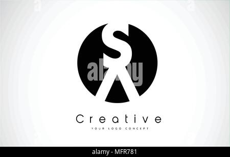 SA Letter Logo Design inside a Black Circle. Creative Lettering Logo Vector Illustration. - Stock Photo