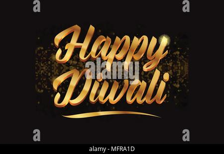 happy diwali gold word text with sparkle and glitter background suitable for card, brochure or typography logo design - Stock Photo