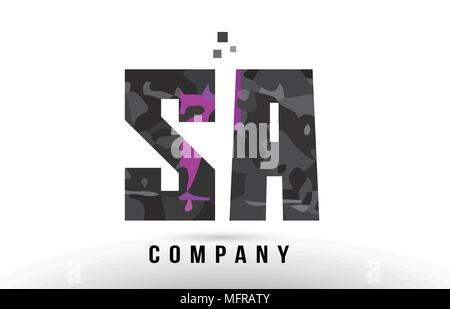 purple black alphabet letter sa s a logo combination design suitable for a company or business - Stock Photo