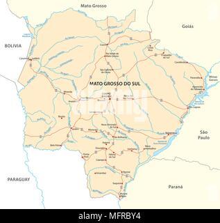 road vector map of the brazilian state mato grosso do sul - Stock Photo