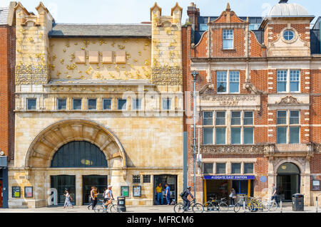 London, UK - May 04, 2018 - Facade of Whitechapel gallery and Aldgate East Station in East London - Stock Photo