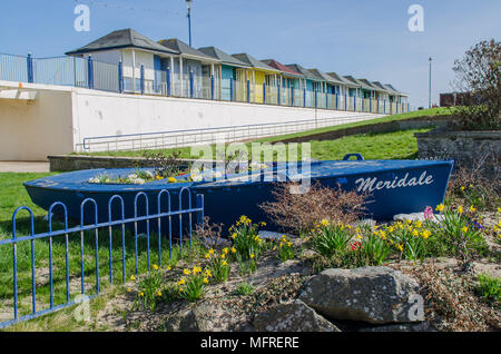 Sutton On Sea Beach Huts and park - Stock Photo
