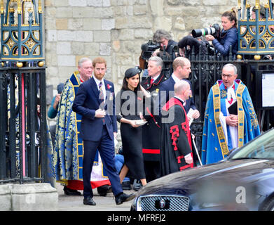 Anzac Day 2018 Service of Commemoration at Westminster Abbey. Prince William, Prince Harry and Meghan Markle leave after the service with Very Rev .... - Stock Photo