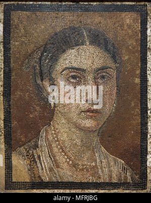 Pompeian Woman depicted in the Roman mosaic from Pompeii, now on display in the National Archaeological Museum (Museo Archeologico Nazionale di Napoli) in Naples, Campania, Italy. - Stock Photo