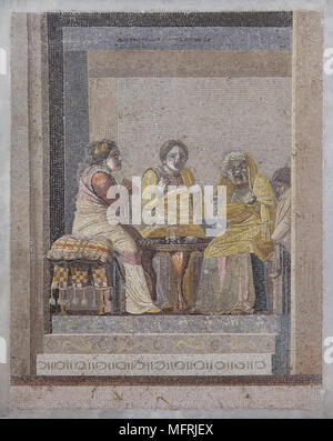 Comedy scene depicted in the Roman mosaic from Villa de Cicero (Villa of Cicero) in Pompeii, now on display in the National Archaeological Museum (Museo Archeologico Nazionale di Napoli) in Naples, Campania, Italy. Two women consulting with a witch are depicted in the mosaic. Signature on the top: signed by Dioskourides of Samos. - Stock Photo