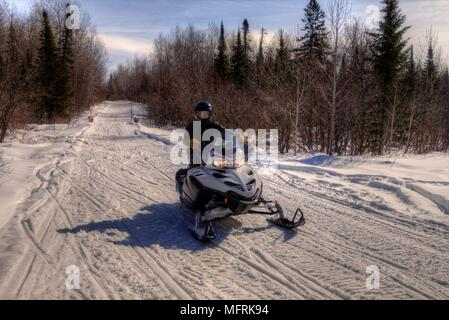 Snowmobiling through the Woods of Northern Minnesota in Winter - Stock Photo