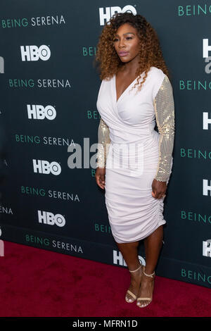 New York, NY - April 25, 2018: Serena Williams attends premiere HBO documentary Being Serena at Time Warner Center - Stock Photo