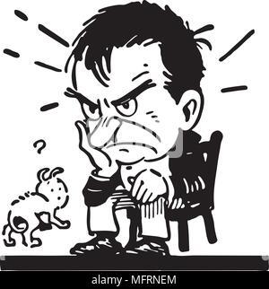 Man Stewing - Retro Clipart Illustration