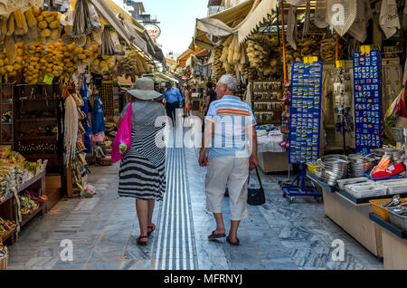 Heraklion, Crete / Greece. The traditional central market in Heraklion. It houses shops with souvenirs, clothes and shoes, fruits, etc - Stock Photo