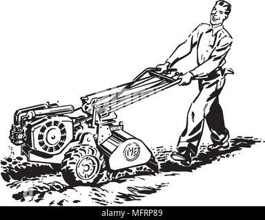 Man With Roto Tiller - Retro Clipart Illustration - Stock Photo