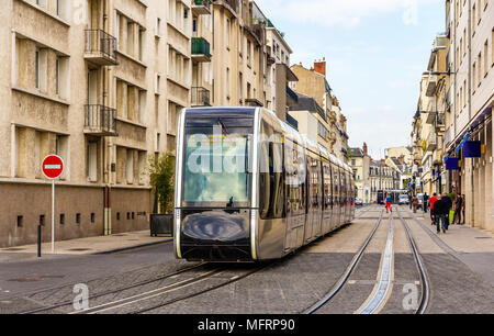Wireless tram in the city centre of Tours - France - Stock Photo