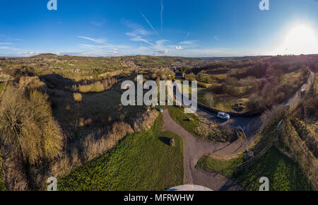 Aerial panorama WIrksworth Star Disc - Stock Photo