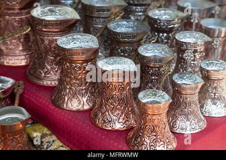 Close up of copper coffee pots in Sarajevo, Bosnia and Herzegovina - Stock Photo
