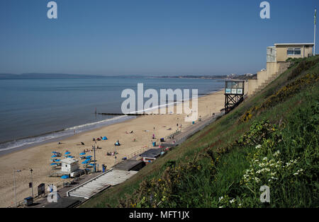 Fishermans walk funicular railway cliff lift in operation during a sunny day with views over Southbourne beach in Bournemouth Dorset England. - Stock Photo