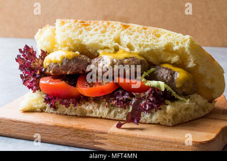 Indian Style Meatballs Sandwich with Bazlama Bread. Fast Food. - Stock Photo