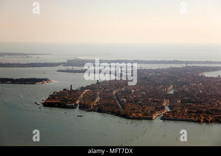 Aerial view of Venice, Italy, from the west: Rio Santa Caterina, Cannaregio in the foreground - Stock Photo