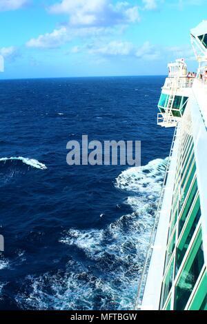 CARIBBEAN OCEAN - FEBRUARY 2018: The Marella Discovery (TUI - formerly Thomson) cruise ship sails through the Caribbean sea. - Stock Photo