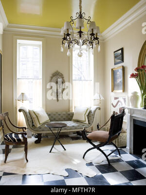 16th Century Furniture In England; Empire Style Sofa In Traditional Style  Sitting Room   Stock Photo