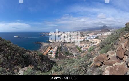 Los Cristianos, Tenerife, with departing ferry - Stock Photo
