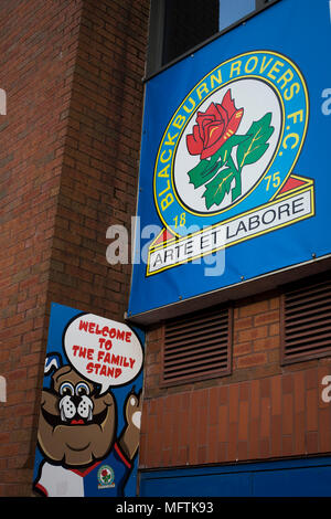A sign for the Family Stand, pictured before Blackburn Rovers played Shrewsbury Town in a Sky Bet League One fixture at Ewood Park. Both team were in the top three in the division at the start of the game. Blackburn won the match by 3 goals to 1, watched by a crowd of 13,579. - Stock Photo