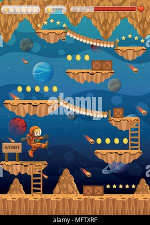 Astronaut in Space Game Template illustration - Stock Photo