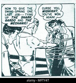 captain midnight original comic book superhero panel art - Stock Photo