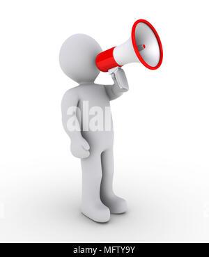 3d person shouting through a megaphone - Stock Photo