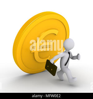 3d businessman is running away from falling euro coin - Stock Photo