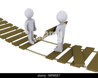 3d person on suspended bridge is helping another to cross - Stock Photo