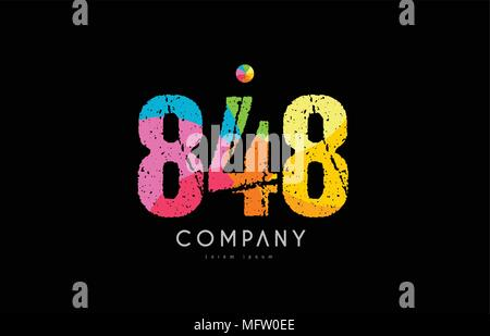 number 848 logo icon design with grunge texture and rainbow colored pattern - Stock Photo