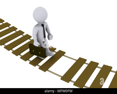3d businessman walking on a damaged suspension bridge - Stock Photo