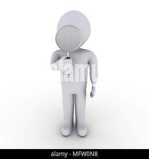 3d person looking through magnifier - Stock Photo