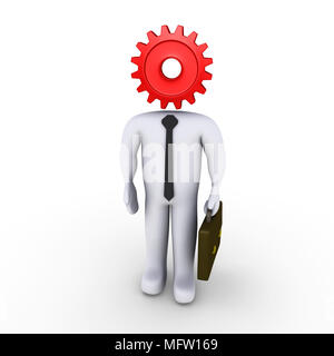 Businessman with a cog instead of his head - Stock Photo