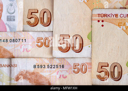 Turkish currency - close-up of 50 lira bill banknotes - Stock Photo