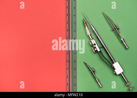 back to school - school and office accessories on colorful backgrounds - Stock Photo