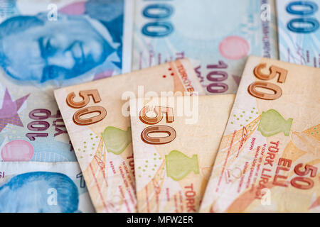 Turkish currency - close-up of 50 and 100 lira bill banknotes - Stock Photo