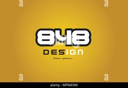 design of bold number numeral digit 848 with white color and black contour on yellow background suitable for a company or business - Stock Photo