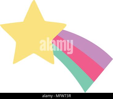 cute shooting star icon over white background, colorful design. vector illustratration - Stock Photo