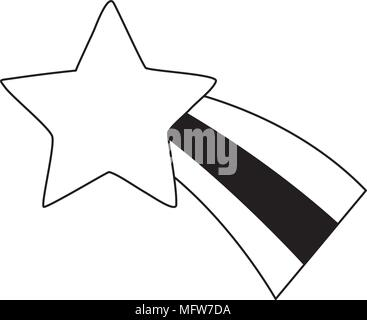 cute shooting star icon over white background, vector illustratration - Stock Photo