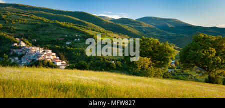 The medieval town of Preci in the Valnerina, Monti Sibillini National Park, Umbria Italy - Stock Photo