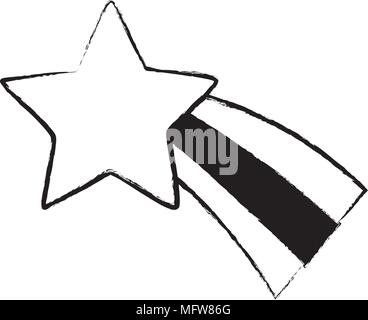 sketch of cute shooting star icon over white background, vector illustratration - Stock Photo