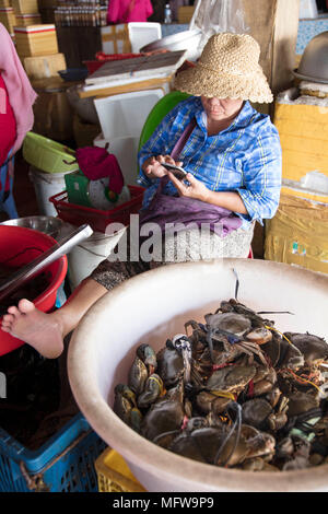 Cham woman in a straw hat selling crabs in Kep crab market - Stock Photo