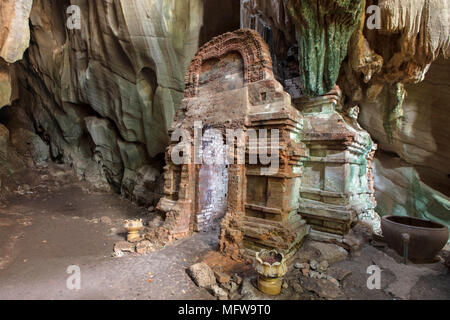 Phnom Chhnork Khmer Hindu cave temple in Kampot province, Cambodia - Stock Photo