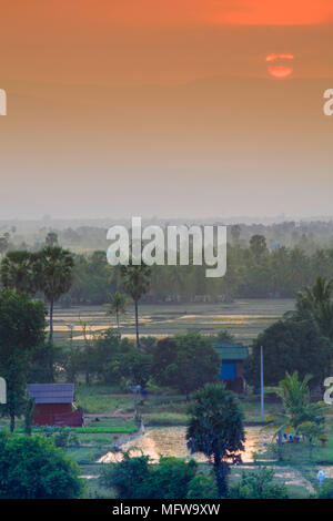 Rural landscape in southern Cambodia near Kampot - Stock Photo