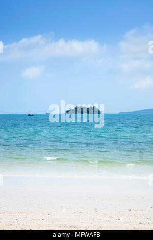 The empty white sand beach of Long Set on Koh Rong island - Stock Photo