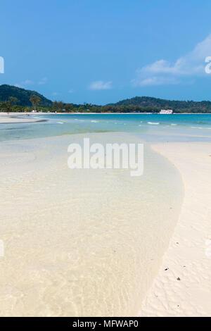 An empty white sand beach on Koh Rong Sanloem island - Stock Photo