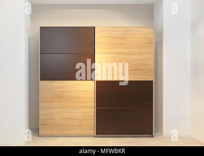 Closet Doors; Big Wardrobe Closet With Wooden Doors In Bedroom   Stock Photo